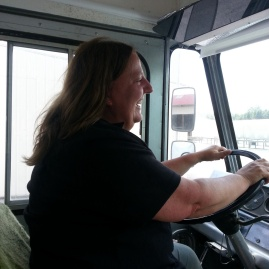 Laurie driving the truck!